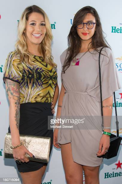 TV personalities Liz Margulies and Claudia Martinez Reardon attend the 2012 US Open Player Party at Gansevoort Park Avenue on August 24 2012 in New...