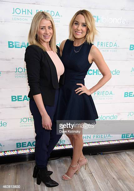 TV personalities Lo Bosworth and Lauren Conrad attend the John Frieda Hair Care Beach Blonde Collection Party at the Garage on February 5 2015 in New...