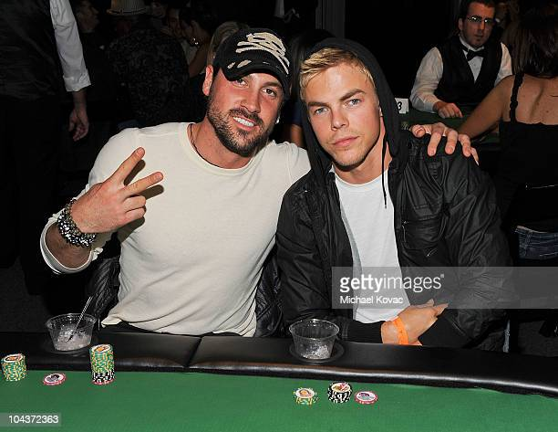 """Personalities Maksim Chmerkovskiy and Derek Hough play poker at the 2nd Annual """"Get Lucky For Lupus!"""" Benefit hosted by Lupus LA at Petersen..."""