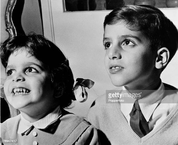 Personalities March 1956 Christina and Alessandro Onassis as young children pictured on their fathers yacht 'Christina'