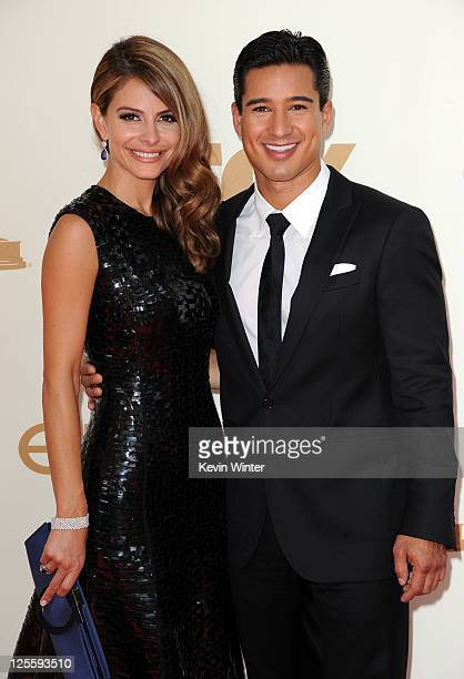 TV personalities Maria Menounos and Mario Lopez arrive at the 63rd Annual Primetime Emmy Awards held at Nokia Theatre LA LIVE on September 18 2011 in...