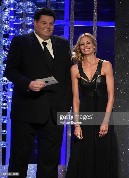 TV personalities Mark Labbett and Brooke Burns speak onstage during The 41st Annual Daytime Emmy Awards at The Beverly Hilton Hotel on June 22 2014...
