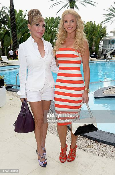 TV personalities Marysol Patton and Alexia Echevarria seen during MercedesBenz Fashion Week Swim 2013 at the Raleigh on July 20 2013 in Miami Beach...