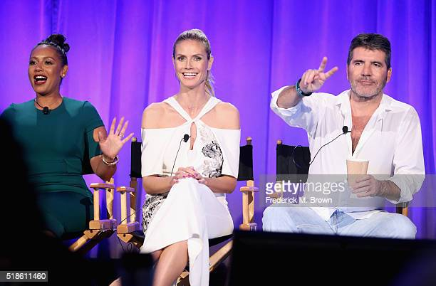 TV personalities Mel B Heidi Klum and TV personality/producer Simon Cowell speak onstage during the 'America's Got Talent' panel at the 2016...