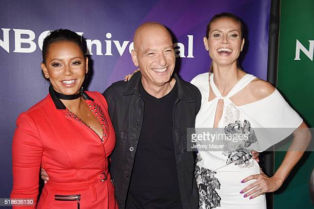 TV personalities Mel B Howie Mandel and Heidi Klum arrive at the 2016 Summer TCA Tour NBCUniversal Press Tour at the Four Seasons Hotel Westlake...
