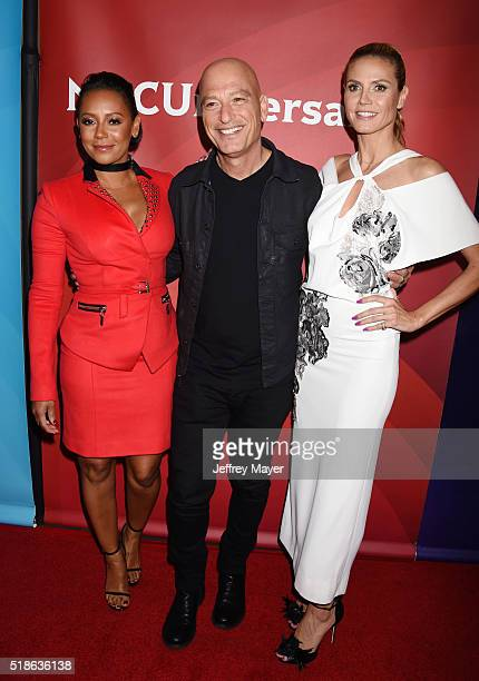 Personalities Mel B, Howie Mandel and Heidi Klum arrive at the 2016 Summer TCA Tour - NBCUniversal Press Tour at the Four Seasons Hotel - Westlake...