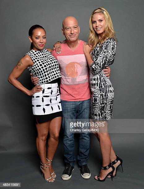 Personalities Mel B, Howie Mandel and Heidi Klum pose for a portrait during the 2014 NBCUniversal Summer Press Day at The Langham Huntington on April...
