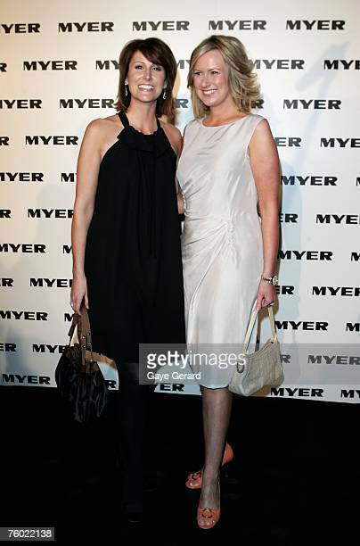 TV personalities Melissa Doyle and Natalie Barr arrive at the Myer Spring/Summer Collection Launch at the Carriageworks on August 8 2007 in Sydney...
