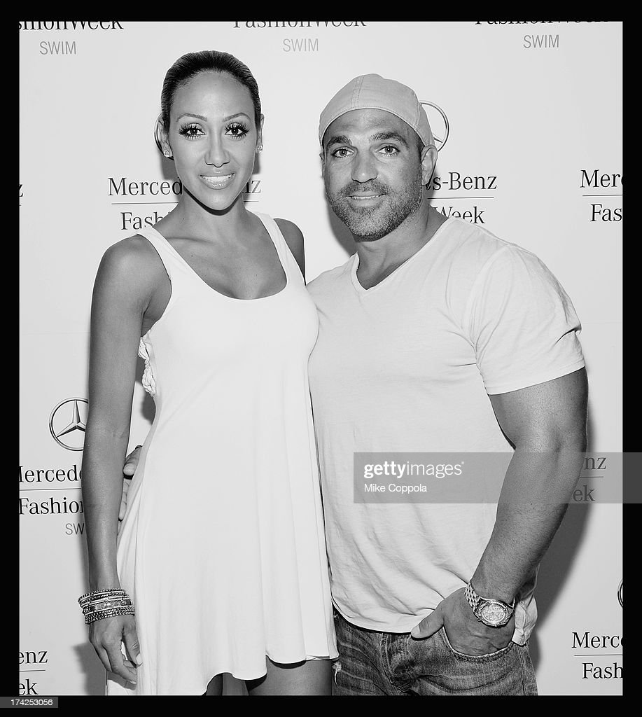 TV personalities Melissa Gorga (L) and Joe Gorga seen during Mercedes-Benz Fashion Week Swim 2014 at the Raleigh Hotel on July 21, 2013 in Miami Beach, Florida.