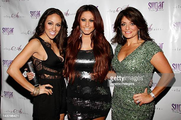 TV personalities Melissa Gorga and Kathy Wakile and Jerseylicious Star Tracy DiMarco attend the Real Housewives Of New Jersey premiere party at the...