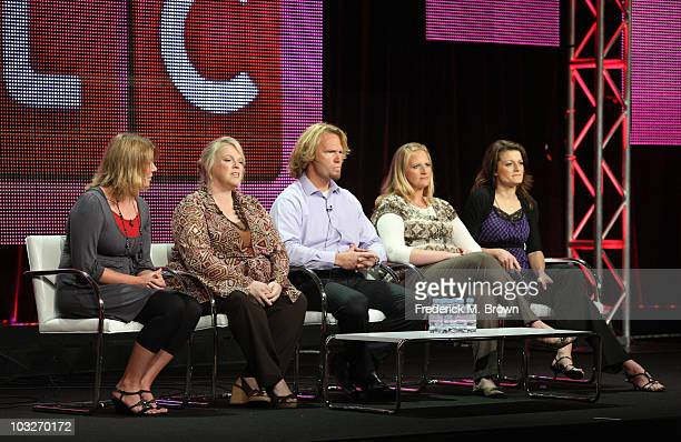 TV personalities Meri Brwon Janelle Brown Kody Brown Christine Brown and Robyn Brown speak duinrg the 'Sister Wives' panel during the Discovery...
