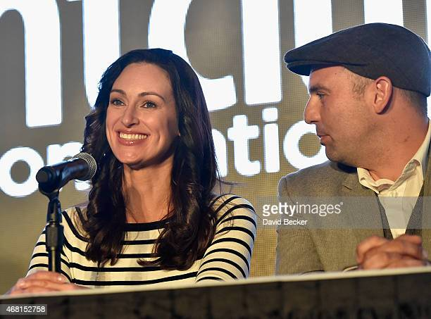 TV personalities Mia Mastroianni and Nick Liberato speak onstage during the 30th annual Nightclub Bar Convention and Trade Show at the Las Vegas...
