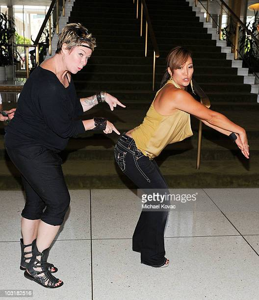 TV personalities Mia Michaels and Carrie Ann Inaba participate in the National Dance Day celebration at Music Center Plaza Performing Arts Center of...