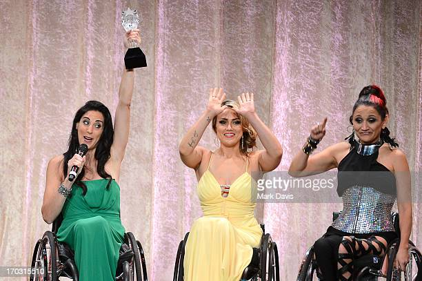 TV personalities Mia Schaikewitz Tiphany Adams and Angela Rockwood accept the Best Reality Series award for Push Girls onstage during Broadcast...