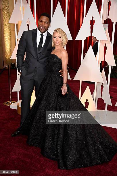 TV personalities Michael Strahan and Kelly Ripa attend the 87th Annual Academy Awards at Hollywood Highland Center on February 22 2015 in Hollywood...