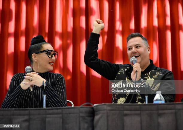 TV personalities Michelle Visage and Ross Mathews speak at 4th Annual RuPaul's DragCon at Los Angeles Convention Center on May 13 2018 in Los Angeles...