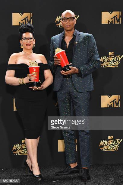 TV personalities Michelle Visage and RuPaul winners of Best Reality Competition for 'RuPaul's Drag Race' pose in the press room during in the press...