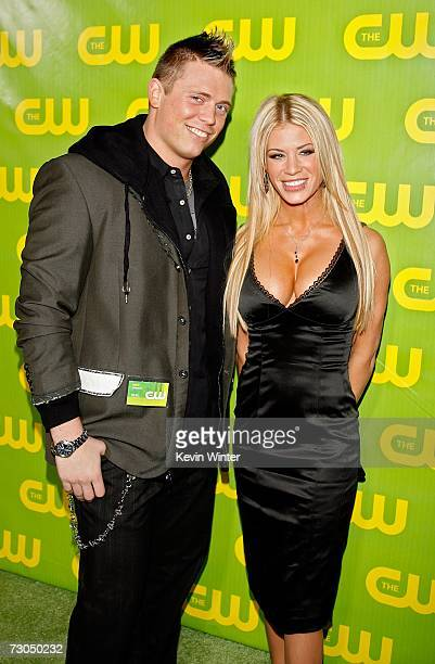 TV personalities Mike Mizanin and Ashley Massaro arrive to The CW Network Winter TCA Party at the RitzCarlton Huntington Hotel on January 19 2007 in...