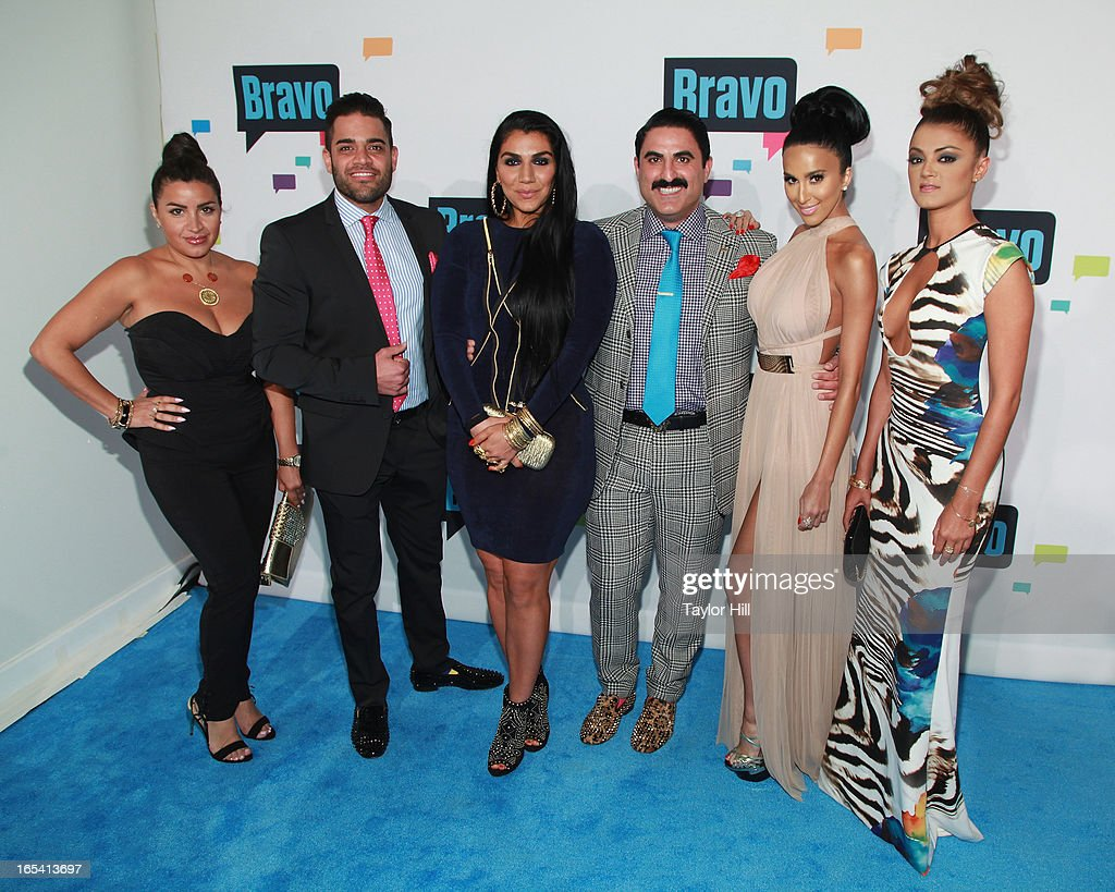 TV personalities Mike Shouhed, Mercedes Javid, Asa Soltan Rahmati, Reza Farahan, Lily Ghalichi, and Golnesa Gharachedaghi of 'Shahs of Sunset' attend the 2013 Bravo Upfront at Pillars 37 Studios on April 3, 2013 in New York City.