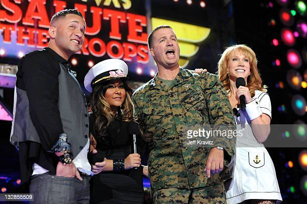 TV personalities Mike 'The Situation' Sorrentino and Nicole 'Snooki' Polizzi Staff Sargeant Mark Curreri and host Kathy Griffin speak onstage during...