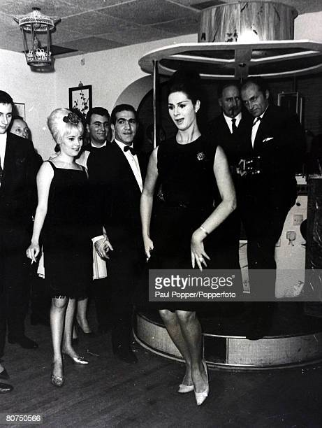12th December 1962 British fashion model showgirl and socialite April Ashley pictured giving her solo interpretation of the flamenco dance at a...