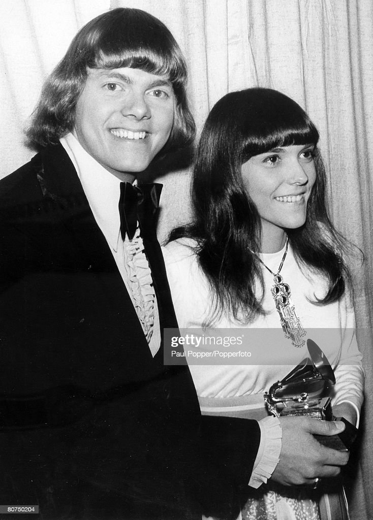 March 1971, Hollywood, USA, American vocal and instrumental duo The Carpenters at the Grammy Awards ceremony