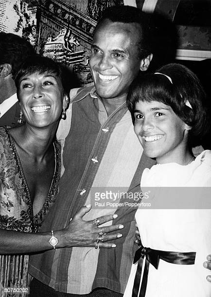 September 1969 New York born Harry Belafonte singer musician actor social activist of Jamaican ancestry pictured here with his wife and daughter...