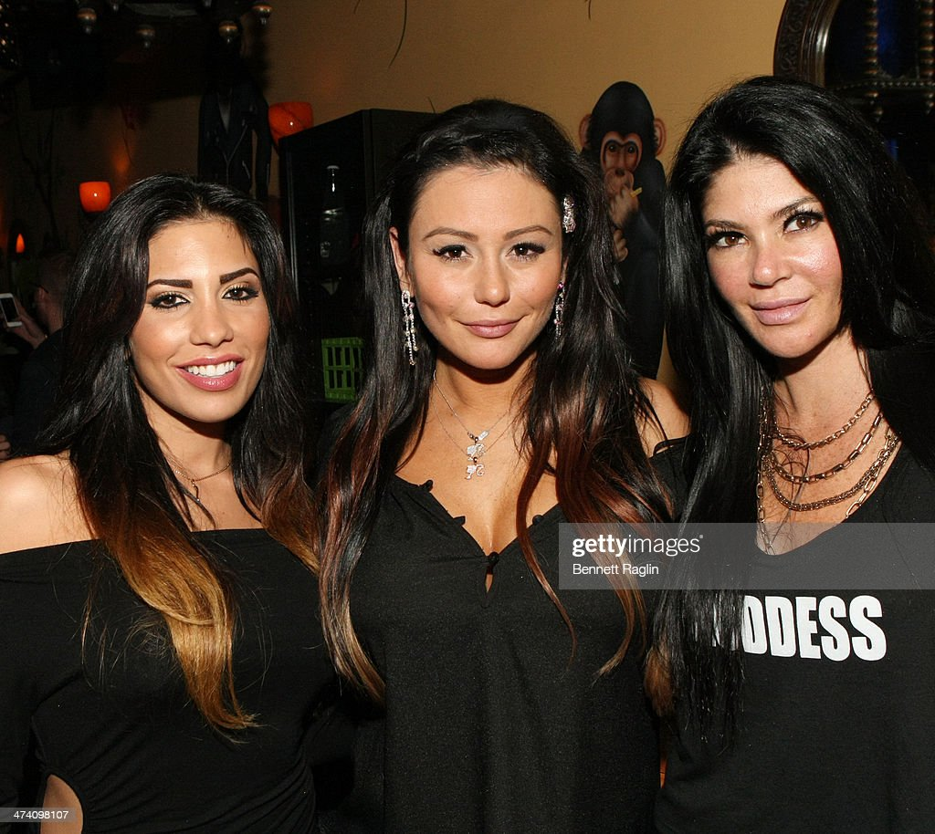 TV personalities Natalie Guercio, Jenni 'JWoww' Farley and Alicia DiMichele pose for a picture during Jenni 'JWOWW' Farley's Birthday Celebration at Drunken Monkey on February 21, 2014 in the Staten Island borough of New York City.
