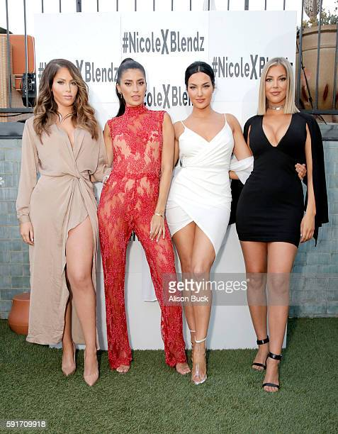 TV personalities Natalie Halcro Nicole Williams Olivia Pierson and Sophia Pierson of the TV show 'WAGS' attend the launch of BodyBlendz Mandarin Mist...