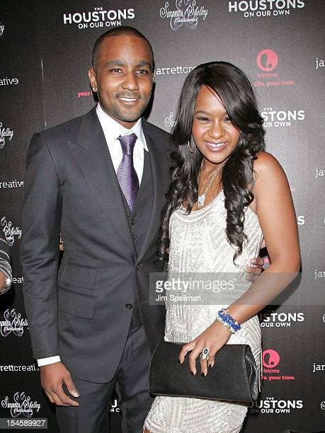 """Personalities Nick Gordon and Bobbi Kristina Brown attend """"The Houstons: On Our Own"""" Series Premiere Party at Tribeca Grand Hotel on October 22, 2012..."""