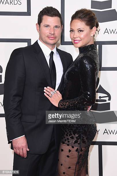 TV personalities Nick Lachey and Vanessa Lachey attend The 58th GRAMMY Awards at Staples Center on February 15 2016 in Los Angeles California