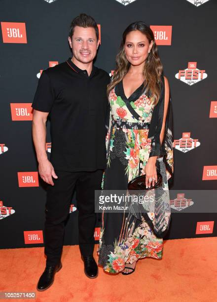 TV personalities Nick Lachey and Vanessa Lachey get the party started at JBL SOUND SPLASH one of the many events during JBL Fest an exclusive...