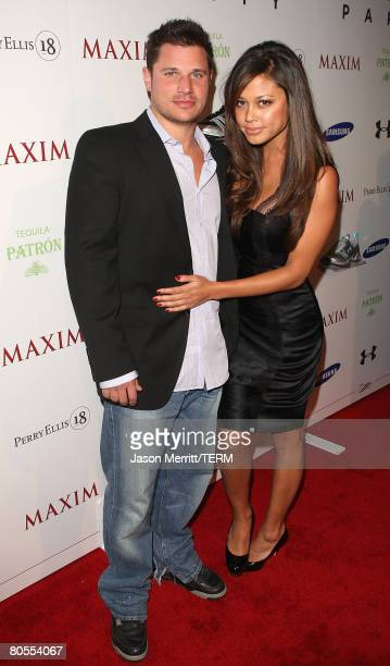 Personalities Nick Lachey and Vanessa Minnillo attend the MAXIM magazine kicks off Super Bowl weekend at the Grand Opening of Stone Rose Lounge,...