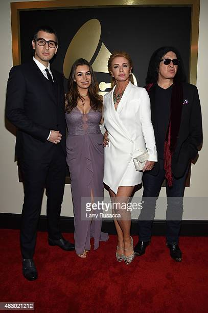 Personalities Nick Simmons Sophie Simmons Shannon Tweed and Gene Simmons attend The 57th Annual GRAMMY Awards at the STAPLES Center on February 8...