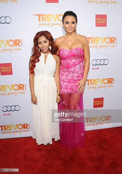 TV personalities Nicole 'Snooki' Polizzi and Jenni 'JWoww' Farley attend TrevorLIVE New York at Pier Sixty at Chelsea Piers on June 17 2013 in New...