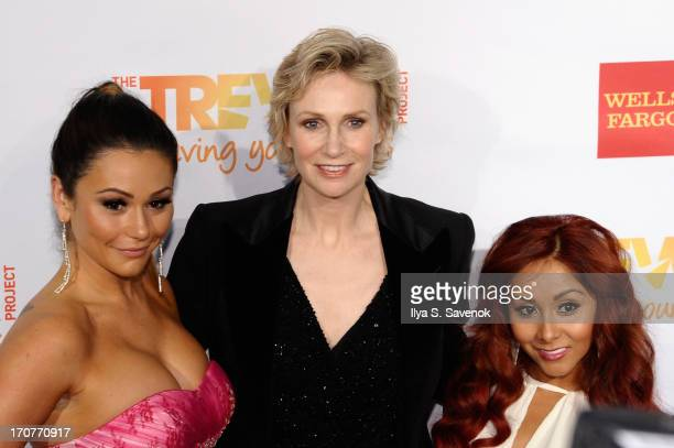 TV personalities Nicole Snooki Polizzi and Jenni Jwoww Farley pose with actress Jane Lynch at the Trevor Project's 2013 'TrevorLIVE' Event Honoring...