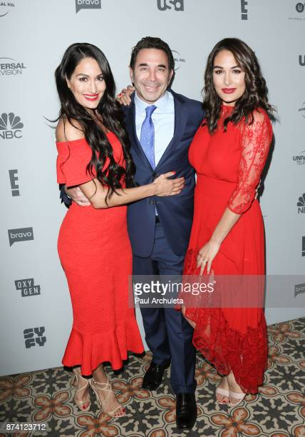 TV Personalities Nikki Bella Dr Paul Nassif Brie Bella attend NBCUniversal's press junket at Beauty Essex on November 13 2017 in Los Angeles...