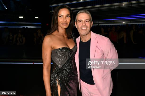 Personalities Padma Lakshmi and Andy Cohen attend the 2018 Billboard Music Awards at MGM Grand Garden Arena on May 20, 2018 in Las Vegas, Nevada.