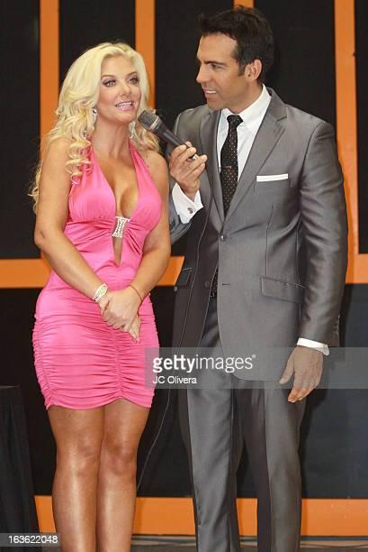 Personalities Paola Durante and Felipe Viel speak during Estrella TV's Mi Sueno Es Bailar season 4 news conference on March 13 2013 in Burbank...