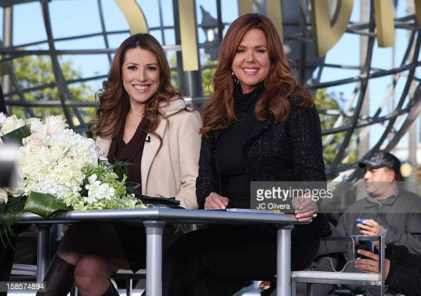 Personalities Patricia Candiani and Maria Celeste Arraras broadcast a special edition of their national tv show 'Al Rojo Vivo' outside the Gibson...