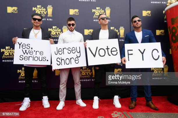 TV personalities Paul DelVecchio aka DJ Pauly D Vinny Guadagnino Mike Sorrentino aka The Situation and Ronnie OrtizMagro attend the 2018 MTV Movie...