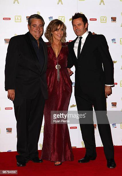 TV personalities Paul McDermott Mikey Robbins and Claire Hooper arrive at the 52nd TV Week Logie Awards at Crown Casino on May 2 2010 in Melbourne...