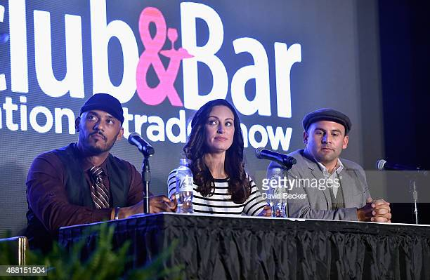 TV personalities Phil Wells Mia Mastroianni and Nick Liberato speak onstage during the 30th annual Nightclub Bar Convention and Trade Show at the Las...