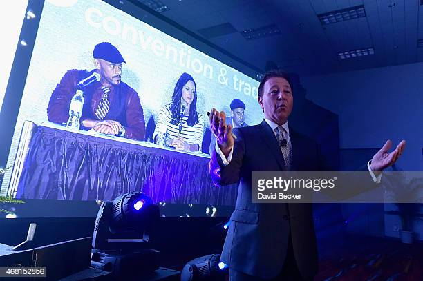 TV personalities Phil Wills Mia Mastroianni and Nick Liberato and Owner/President of Greco Holdings Thom Greco speak onstage during the 30th annual...