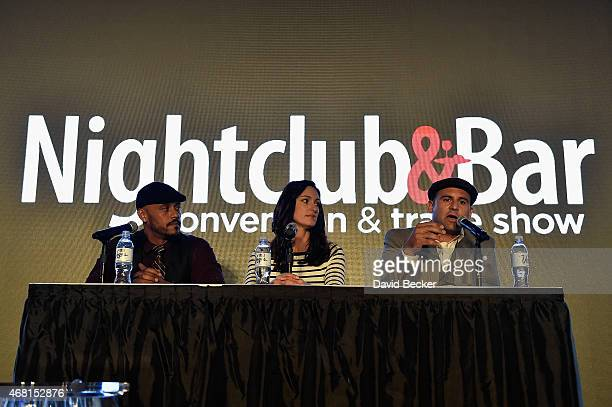 TV personalities Phil Wills Mia Mastroianni and Nick Liberato speak onstage during the 30th annual Nightclub Bar Convention and Trade Show at the Las...