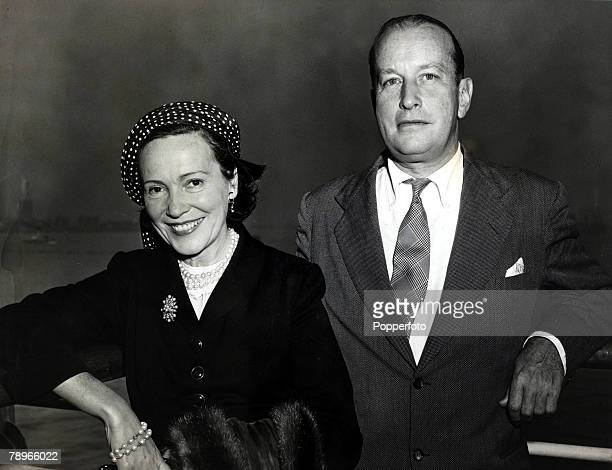 1948 Adele Astaire Douglass and her husband Kingman Douglass on the SS 'America' as the ship arrives in New York Adele Astaire Douglass is the sister...