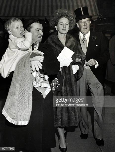 28th December 1961 London Ronald ArmstrongJones pictured with his 3rd wife Jennifer and young son Peregrine carried by the nurse