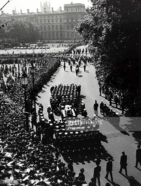5th September 1979 Lord Louis Mountbatten's coffin with naval guard of honour enroute to Westminster Abbey for his State Funeral Lord Mountbatten was...