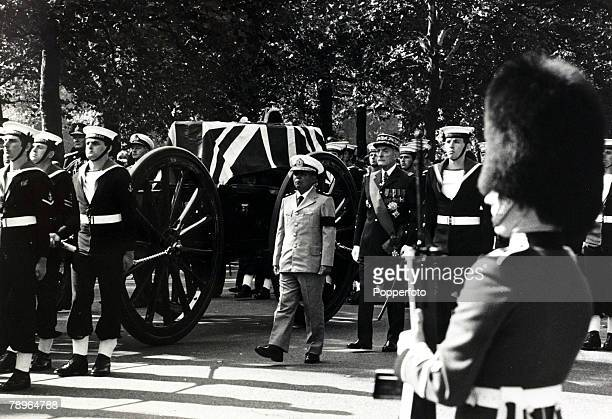 5th September 1979 Lord Louis Mountbatten's coffin enroute to Westminster Abbey for his State Funeral Lord Mountbatten was a British Admiral and...