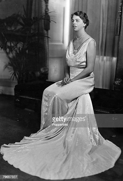 circa 1920's American humanitarian Eleanor Roosevelt pictured in a ballgown the wife of Franklin D Roosevelt the President of the United States